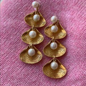 J. Crew shell/pearl dangle earrings